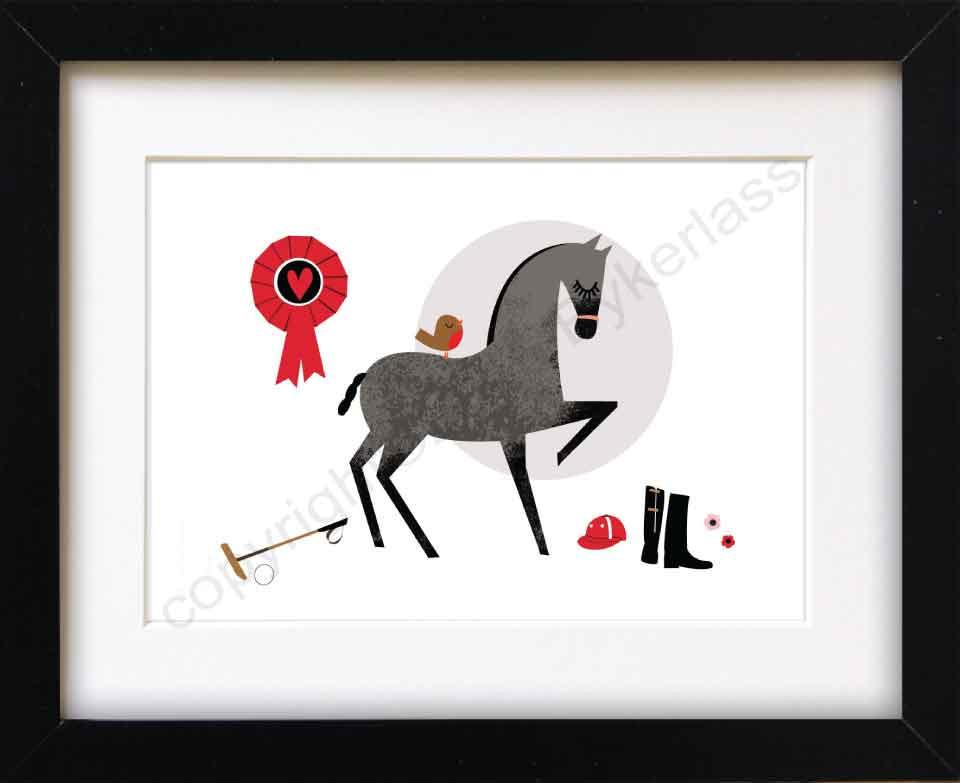Polo Horse Mounted Print (CHDP1)