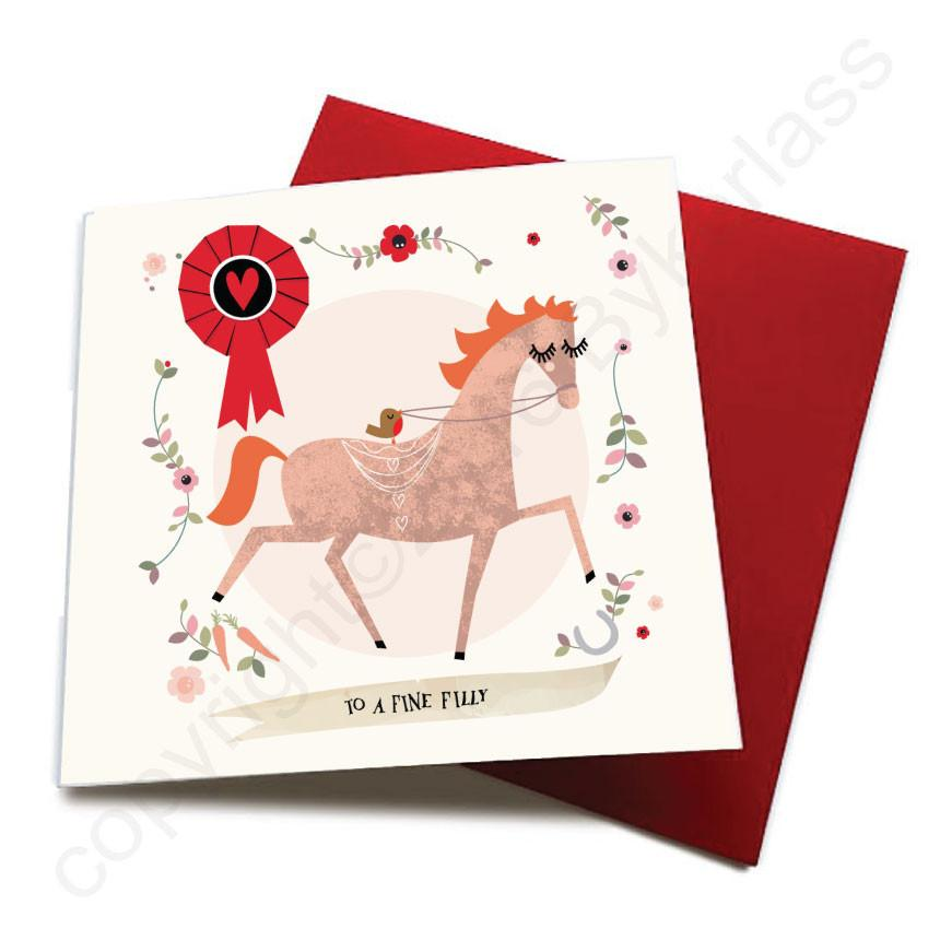 To A Fine Filly - Horse Greeting Card  CHDS10
