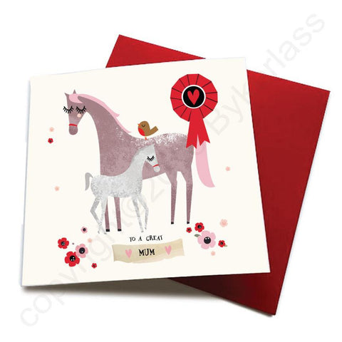 To A Great Mum - Horse Greeting Card  CHDS12