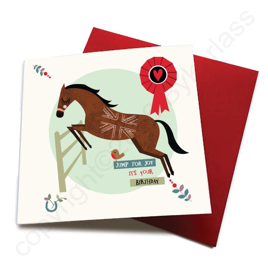 Jump For Joy - Horse Greeting Card  CHDS20