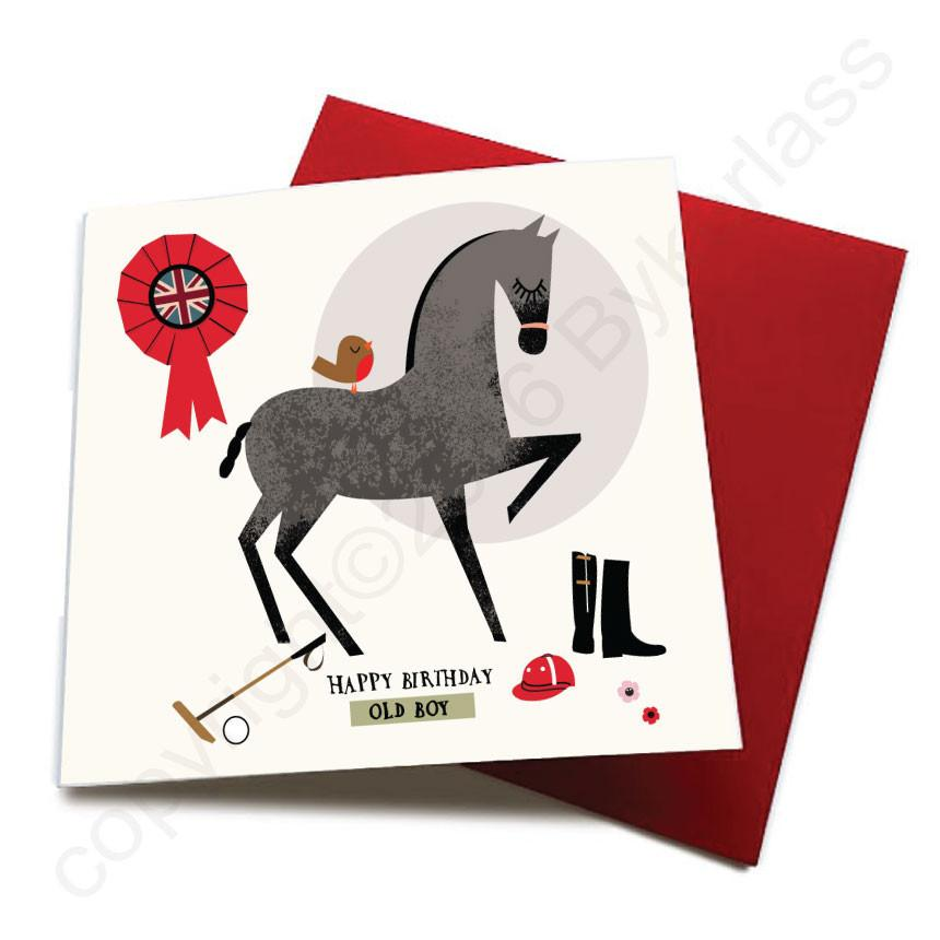 Happy Birthday Old Boy - Horse Greeting Card  CHDS21