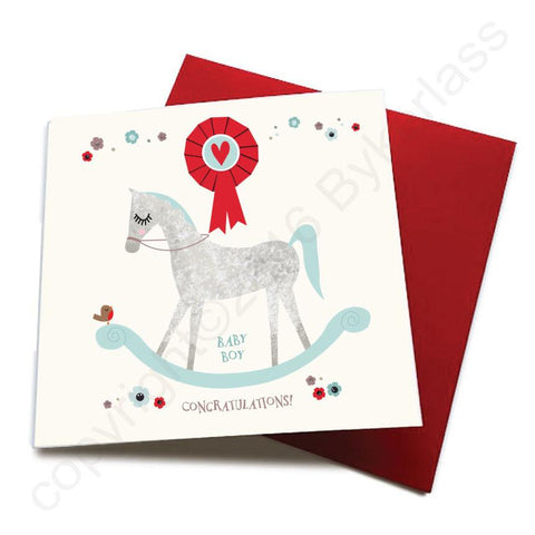 Baby Boy - Horse Baby Birth Card  CHDS7