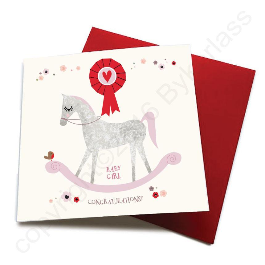 Baby Girl - Horse Baby Birth Card  CHDS8