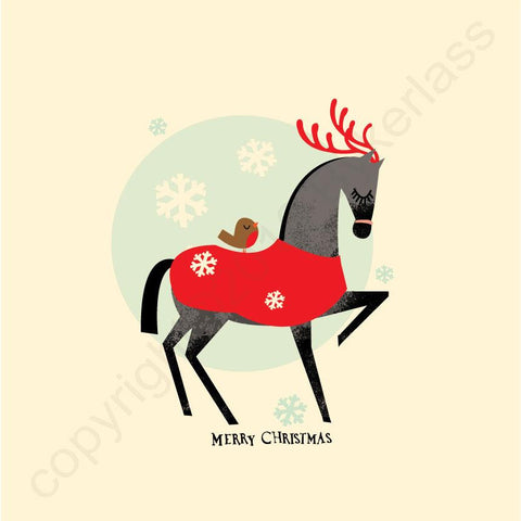 Horse Cosy Winter Rug Christmas Card --- CHDCX1