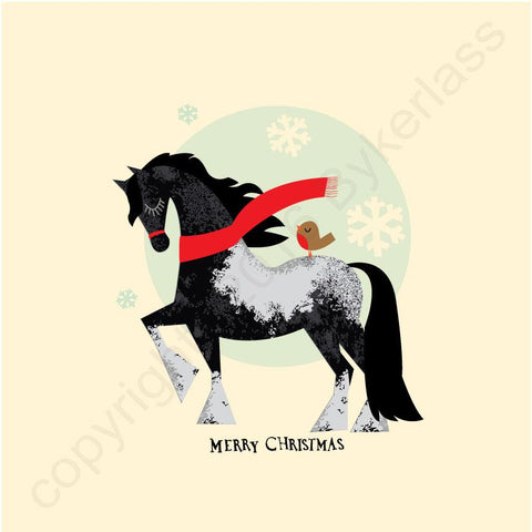 Horse Cosy Winter Scarf Christmas Card --- CHDCX2