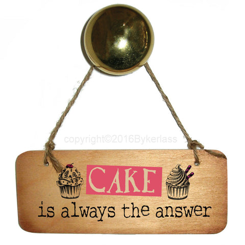 NEW! Cake is always the answer Fab Wooden Sign - RWS1