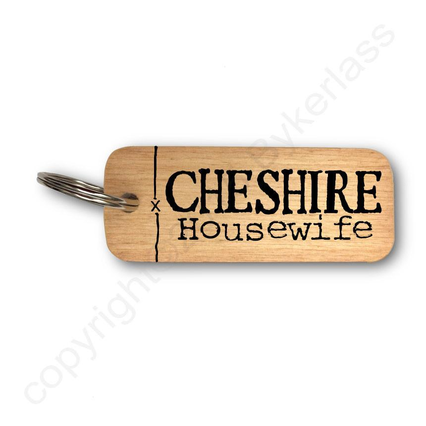Cheshire Housewife North West Rustic Wooden Keyring
