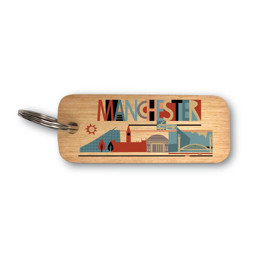 City Scape Manchester North West Rustic Wooden Keyring