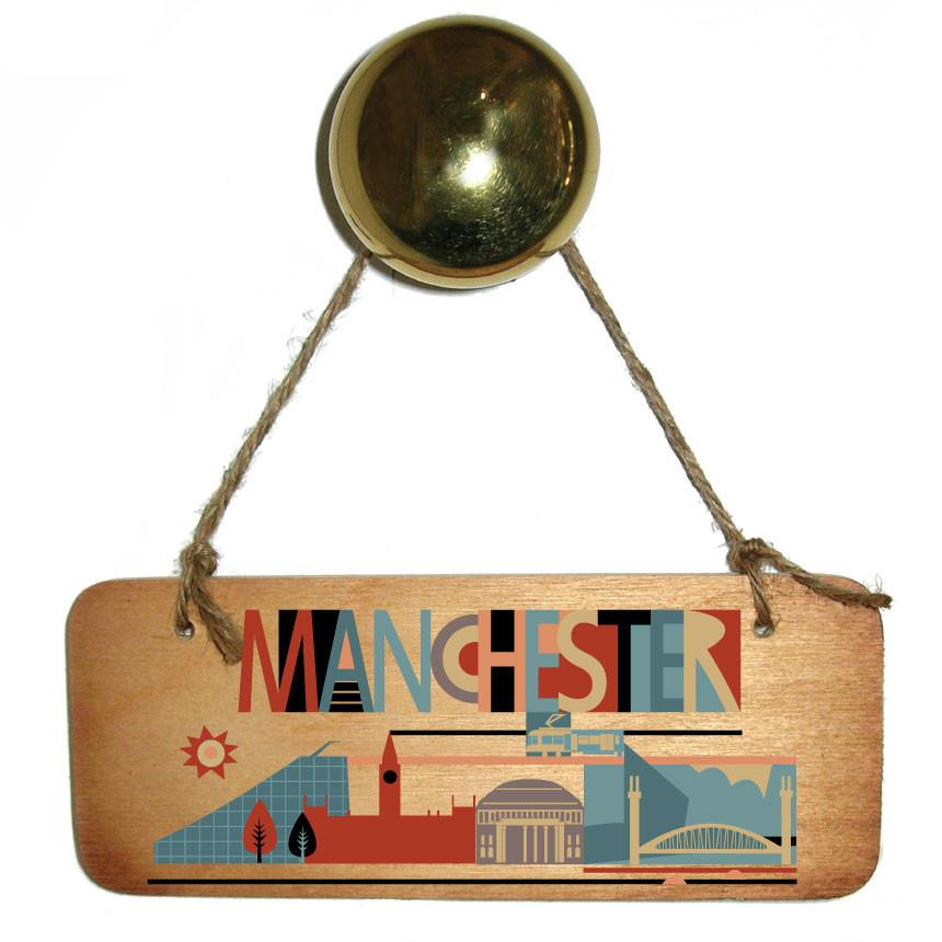 City Scape Manchester Wooden Sign by Wotmalike