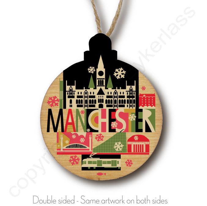 City Scape Manchester Rustic Wooden Christmas Bauble