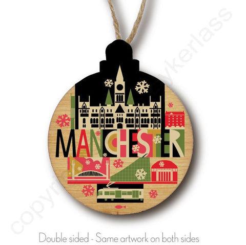 City Scape Manchester Rustic Wooden Christmas Bauble  - DOUBLE SIDED  RWB1