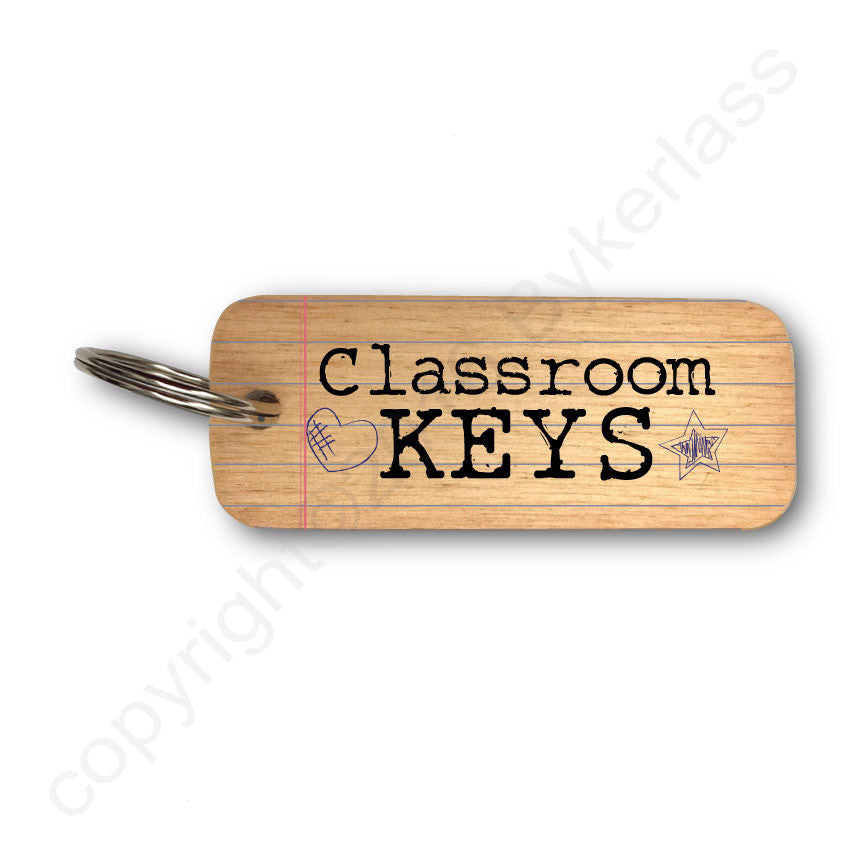 Classroom Keys Gifts for Teacher Rustic Wooden Keyring - RWKR1