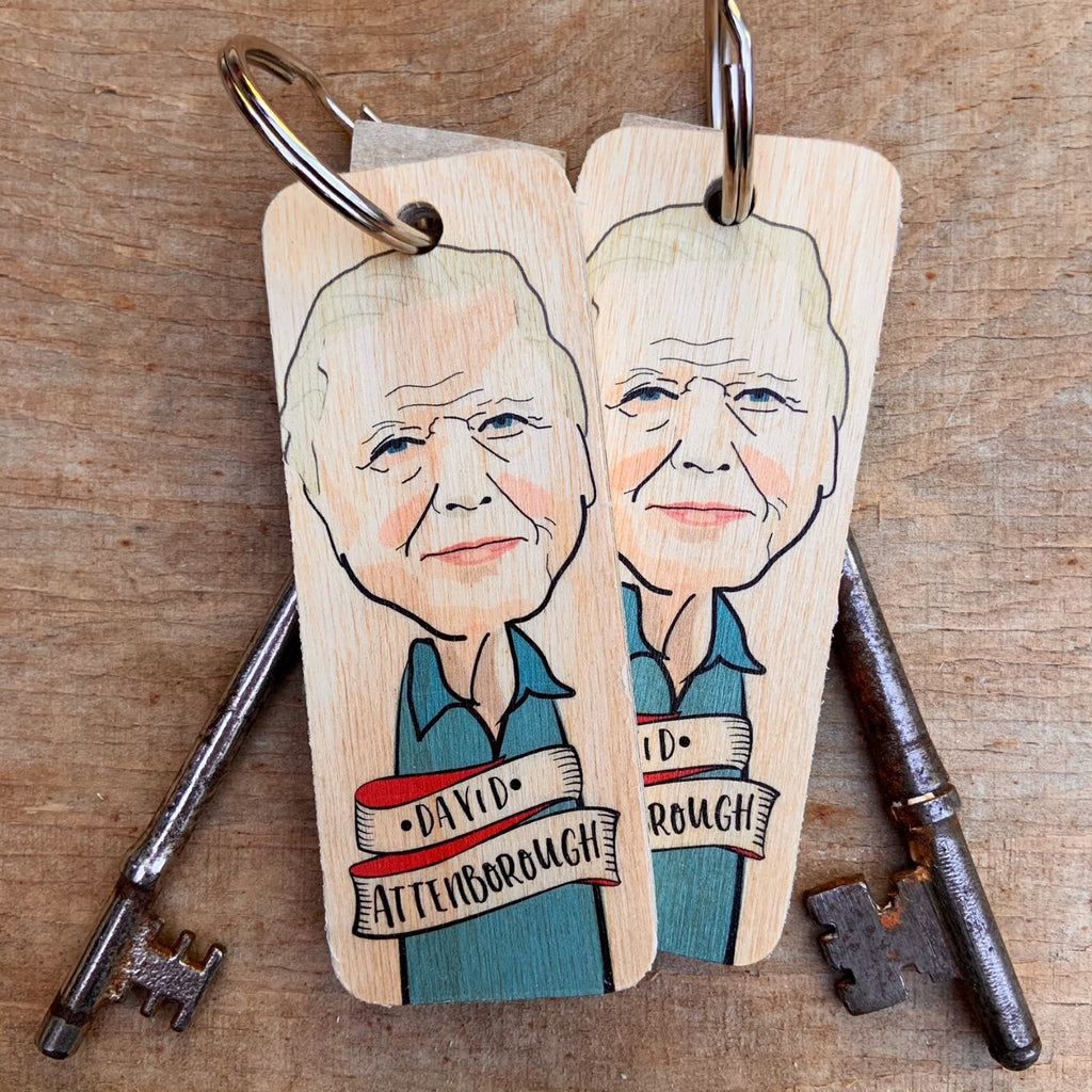 David Attenborough Character Wooden Keyring by Wotmalike
