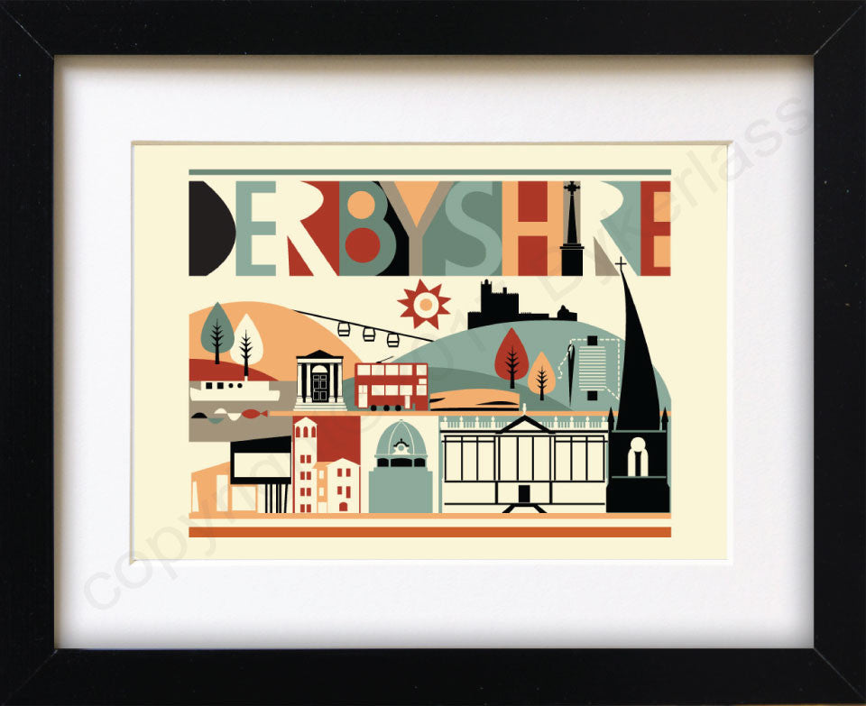 Derbyshire Scape Brights Mounted Print