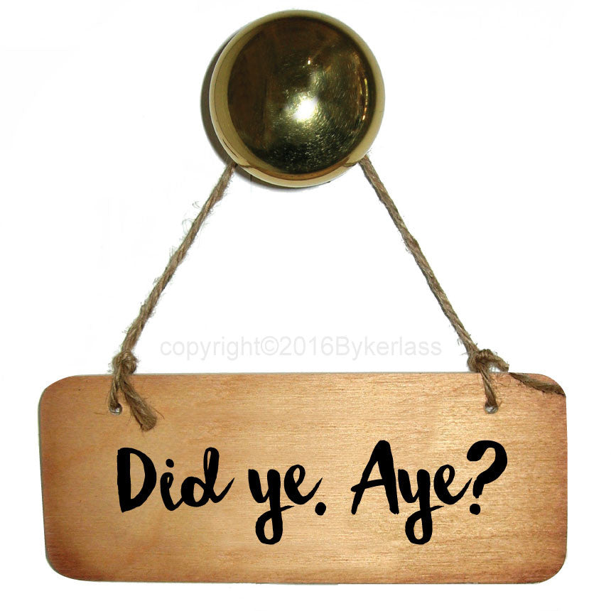 Did Ye Aye?? - Scottish Wooden Sign