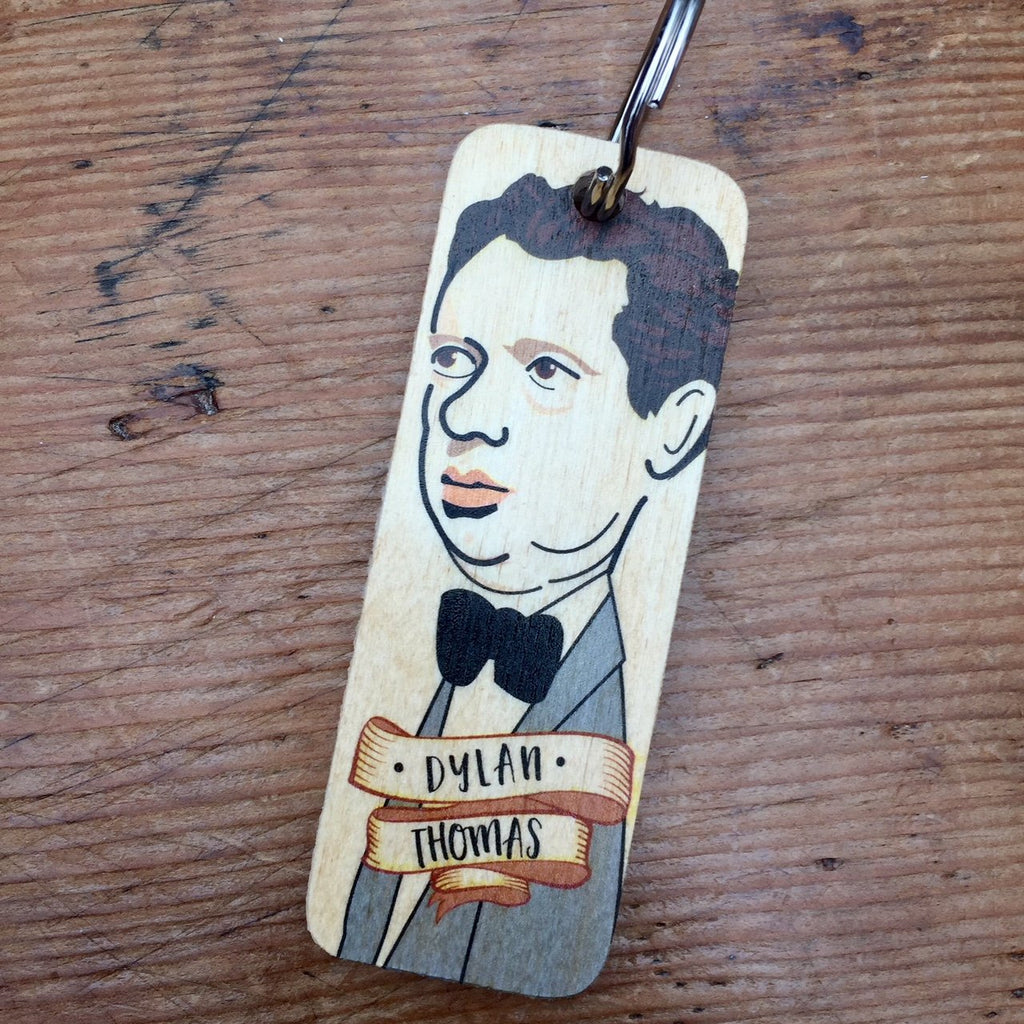 Dylan Thomas Character Wooden Keyring by Wotmalike Literary Gifts