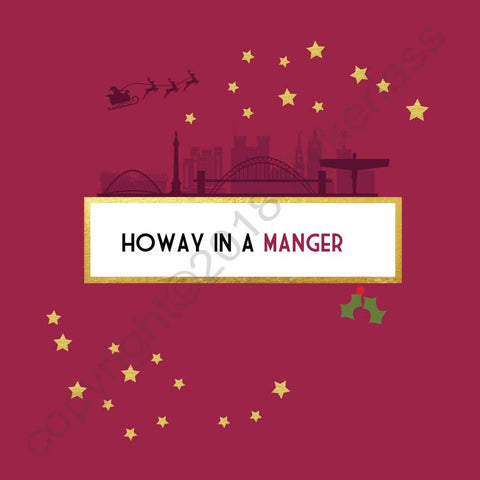 Howay in a Manger Christmas Card --- FX10