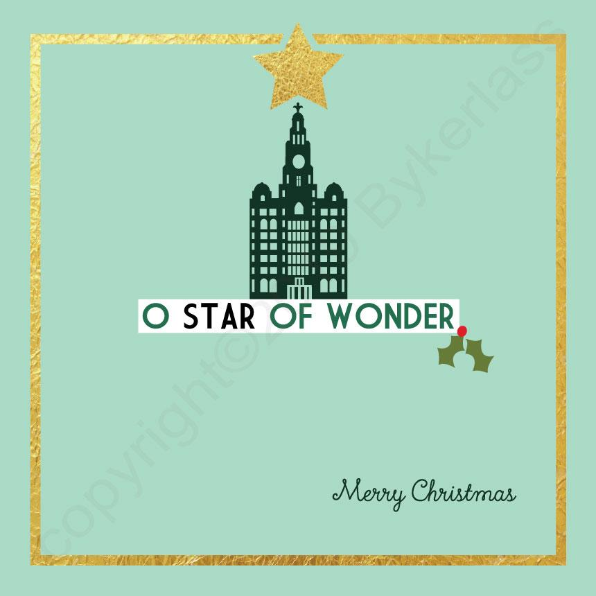 Liver Building O Star of Wonder Mint Christmas Card By Wotmalike