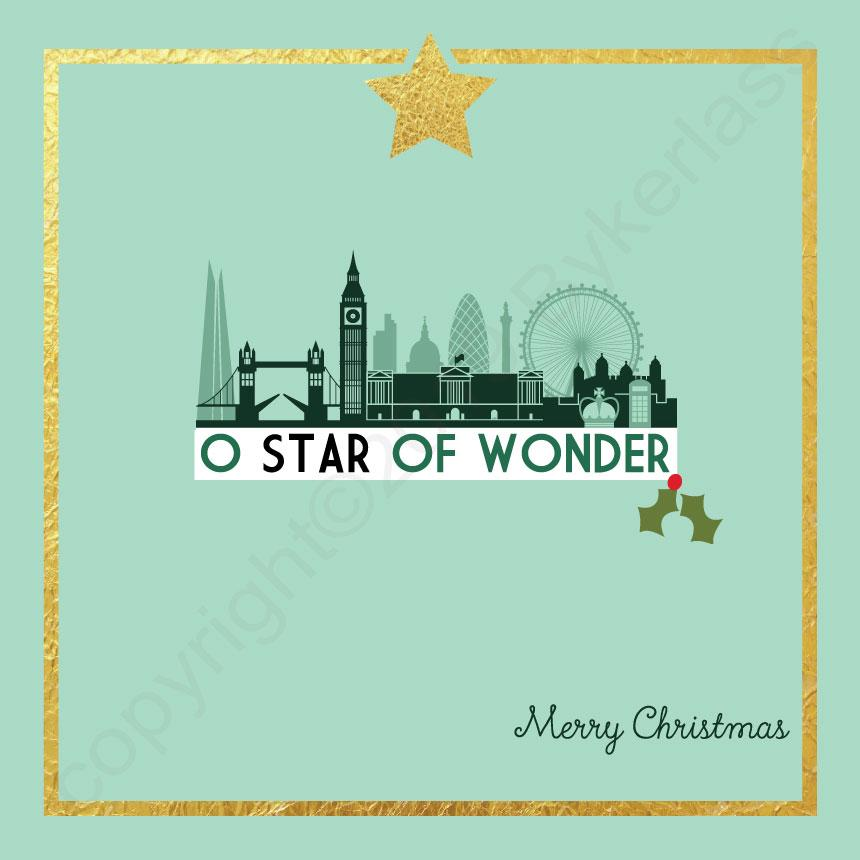 London O Star of Wonder Mint Christmas Card by Wotmalike
