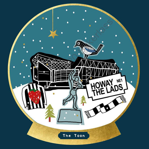 Newcastle Football Snow Globe Christmas Card --- FX120