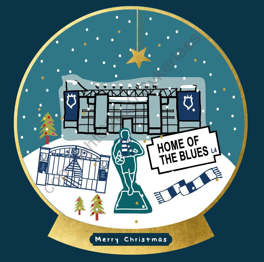 Everton Football Snow Globe Christmas Card by Wotmalike
