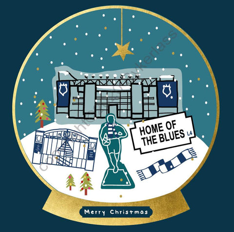 Everton Football Snow Globe Christmas Card --- FX121