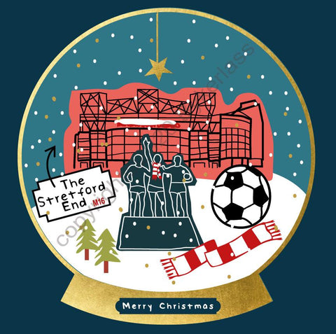 Manchester Old Trafford Football Snow Globe Christmas Card --- FX122
