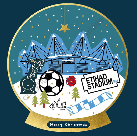 Manchester Etihad Football Snow Globe Christmas Card --- FX123