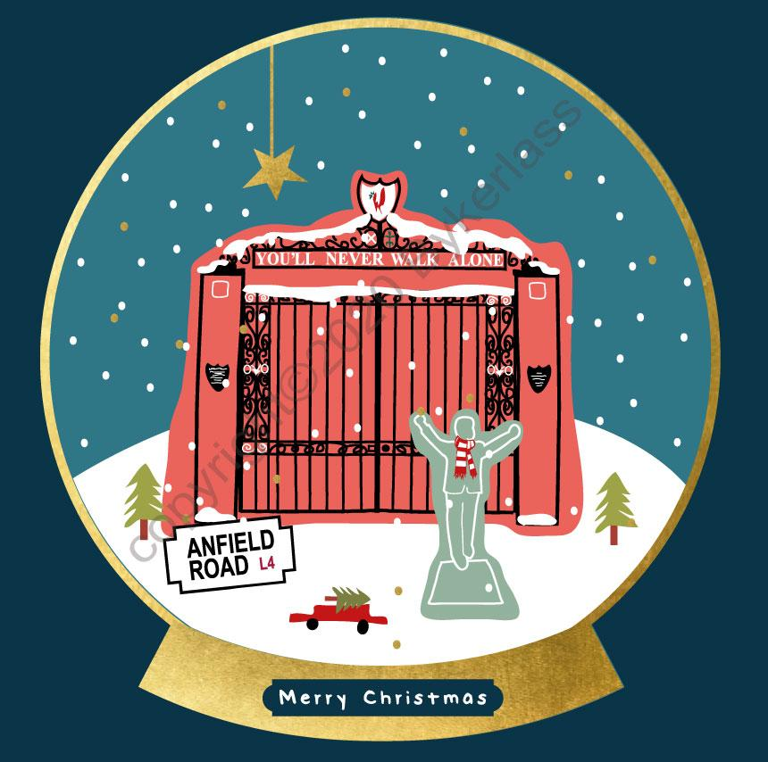 Shankly Gates Snow Globe Christmas Card by wotmalike