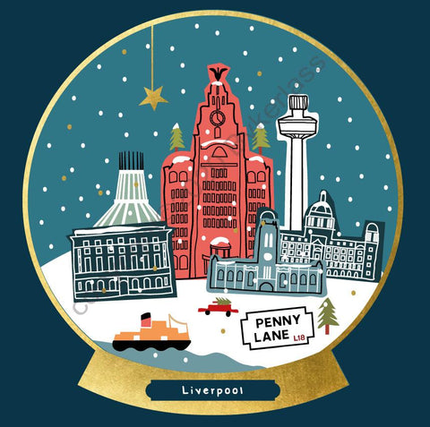 Liverpool Snow Globe Christmas Card --- FX128