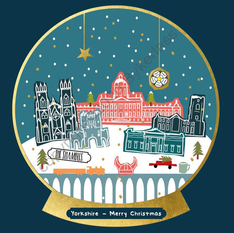 Yorkshire One Snow Globe Christmas Card --- FX133