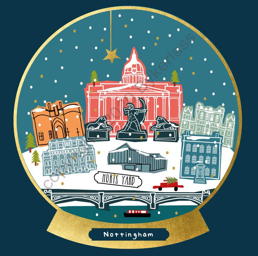 Nottingham Snow Globe Christmas Card by Wotmalike
