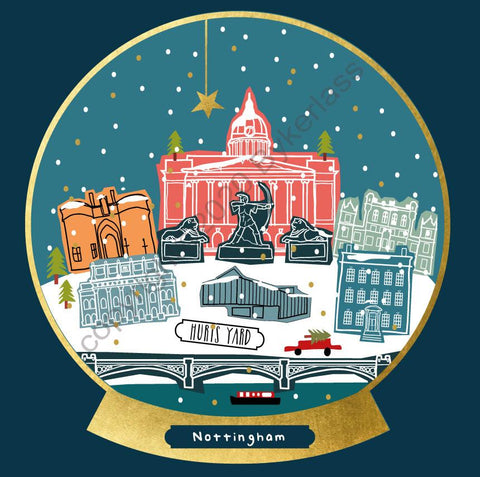 Nottingham Snow Globe Christmas Card --- FX135