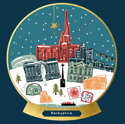Derbyshire Snow Globe Christmas Card ---  FX136