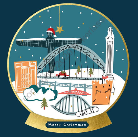 Newcastle Snow Globe Christmas Card --- FX137