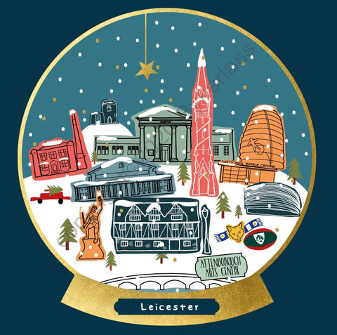 Leicester Snow Globe Christmas Card --- FX144