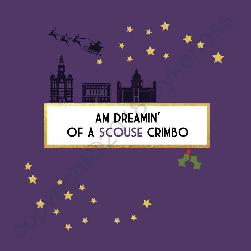 Am Dreamin of a Scouse Crimbo Christmas Card by Wotmalike