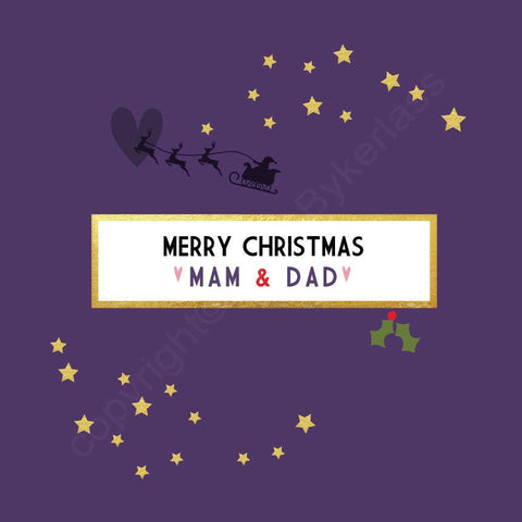 Merry Christmas Mam & Dad Purple Christmas Card --- FX46
