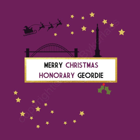 Merry Christmas To An Honorary Geordie Plum Christmas Card --- FX70