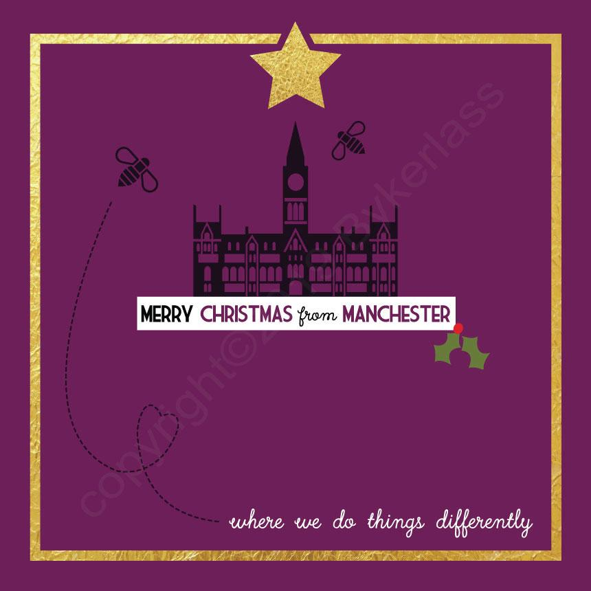 Manchester Bee Plum Christmas Card by Wotmalike