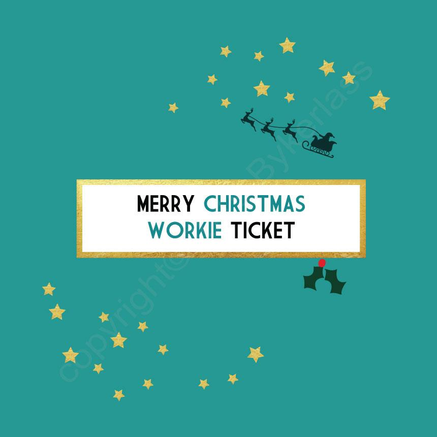 Merry Christmas Workie Ticket Turquoise Christmas Card by Wotmalike