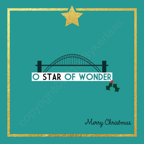 Tyne Bridge O Star of Wonder Turquoise Christmas Card --- FX84