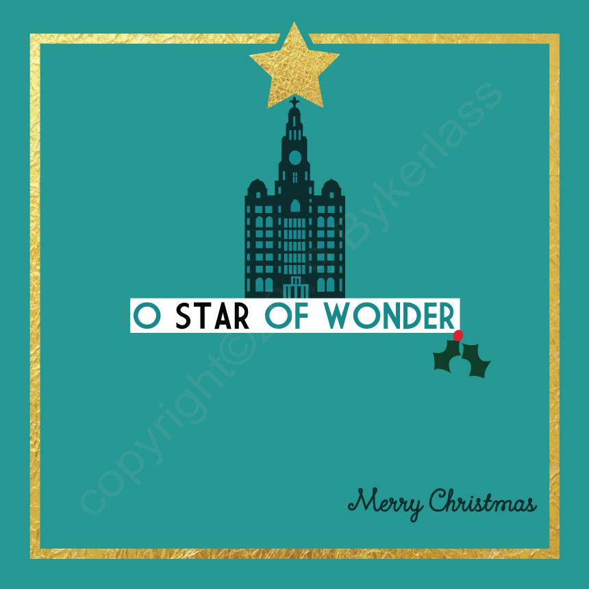 Liver Building O Star of Wonder Turquoise Christmas Card by Wotmalike