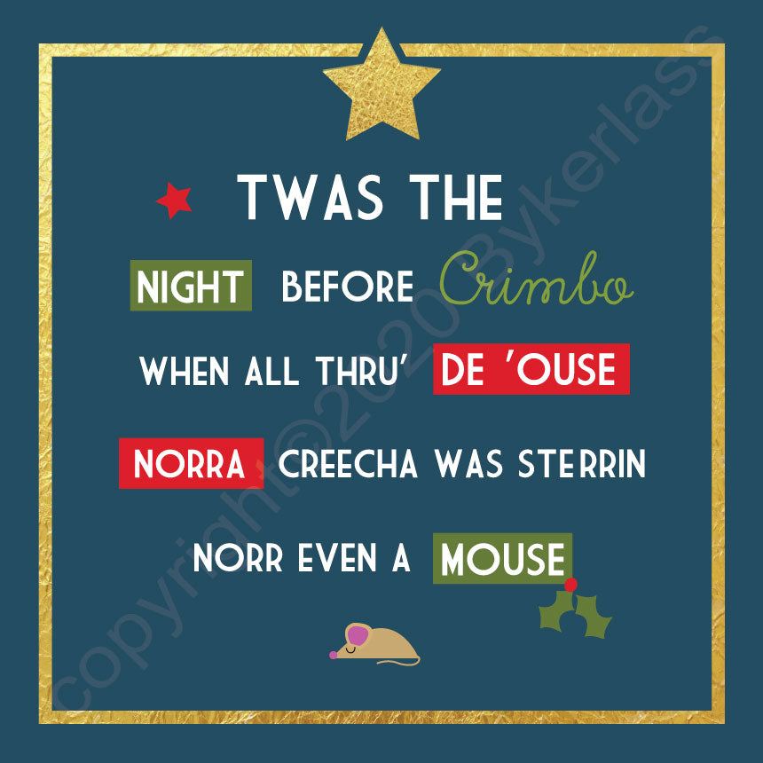 Twas The Night Before Christmas Petrol Scouse Christmas Card by Wotmalike