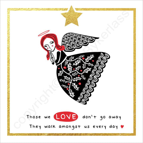 Those We Love Don't Go Away Angel Christmas Card ---  FX97