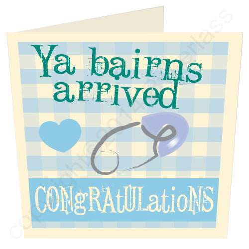 Ya Bairns Arrived Geordie Mugs Baby Boy Card newborn baby Geordie card