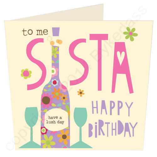 To Me Sister Geordie Birthday Card by GeordieMugs makers of cards for Geordies and Geordie Gifts