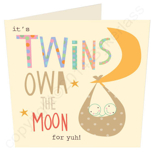 It's Twins Owa the Moon Geordie Baby Card