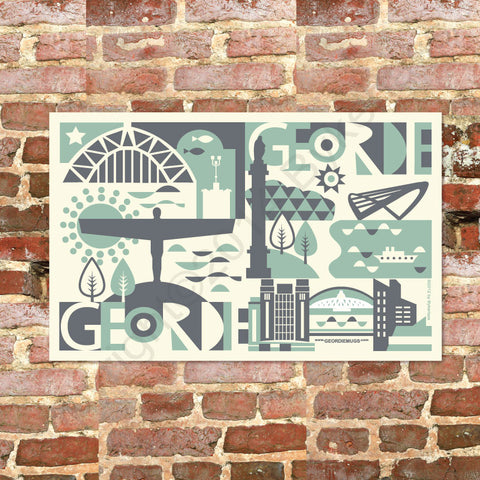 Geordie City Tea Towel in Pistachio & Charcoal (GTTCity2)