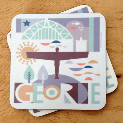 Geordie Cards North east gifts Newcatsle landmarks illustration handmade Geordie Coaster